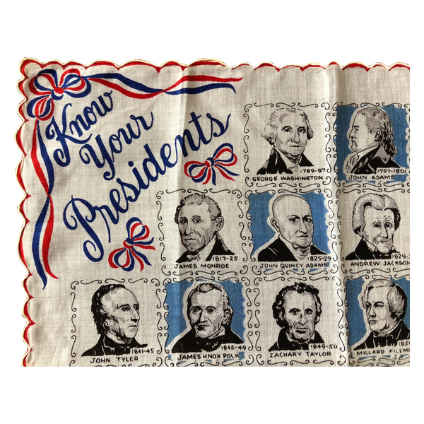 1954 Know Your Presidents Handkerchief Bandana USA History Eisenhower