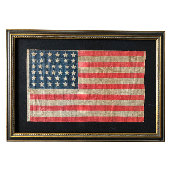 Vintage 38 Star Flag, Antique American Flag, Colorado Statehood, 1876-1889