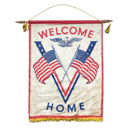 Vintage Antique World War II Victory Banner Welcome Home American Flags