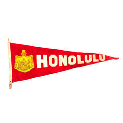 Vintage Honolulu Felt Pennant with Sewn Letters
