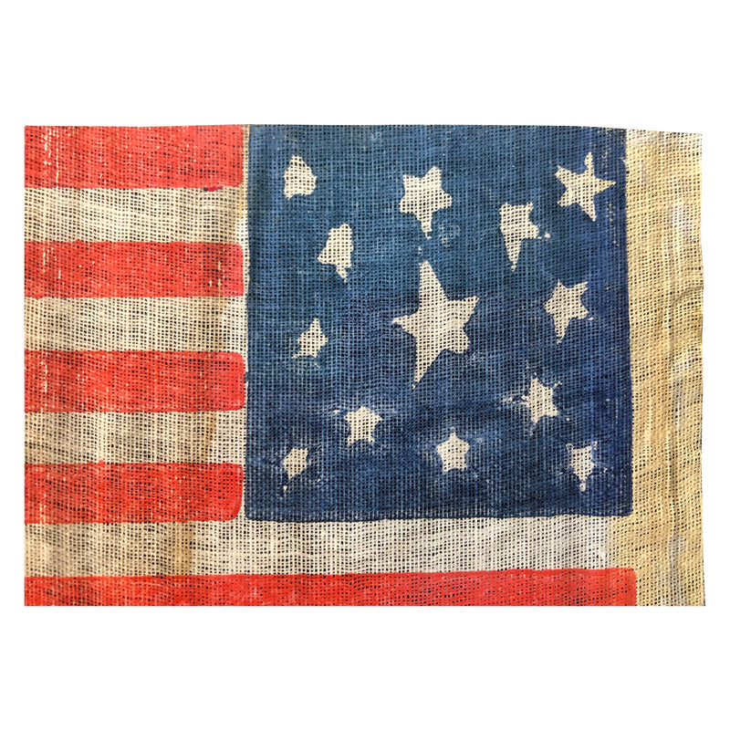 Antique Vintage 13 Star Flag Parade Flag with Medallion Pattern