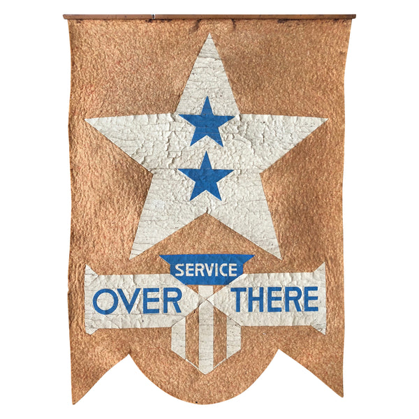 Vintage WWI Banner - In Service Over There - Homefront Window Display