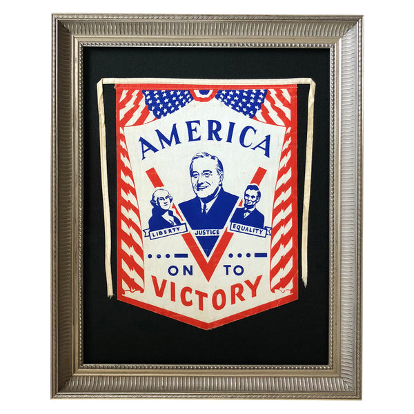 "American Victory Window Banner with FDR inside ""V on to Victory"""