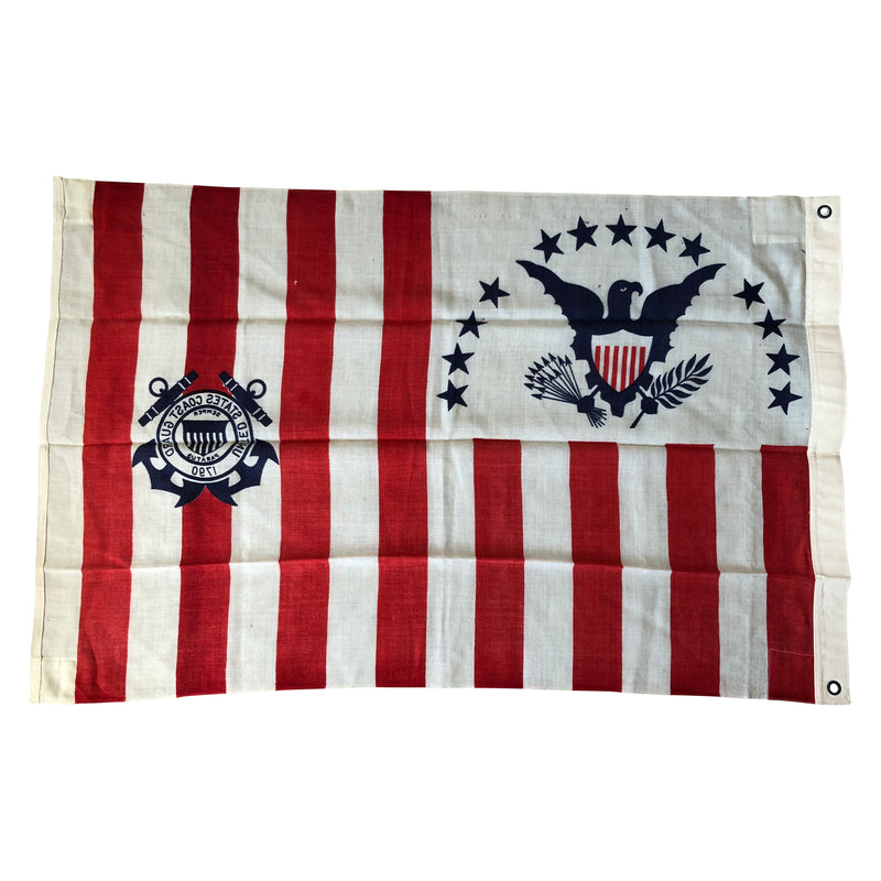 Vintage US Coast Guard Ensign No. 4 Flag - Wool Material