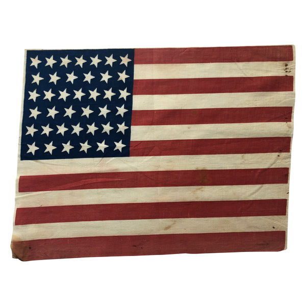 39 Star Flag, Vintage American Flag Tilted Stars Angled In The 1:00 Position