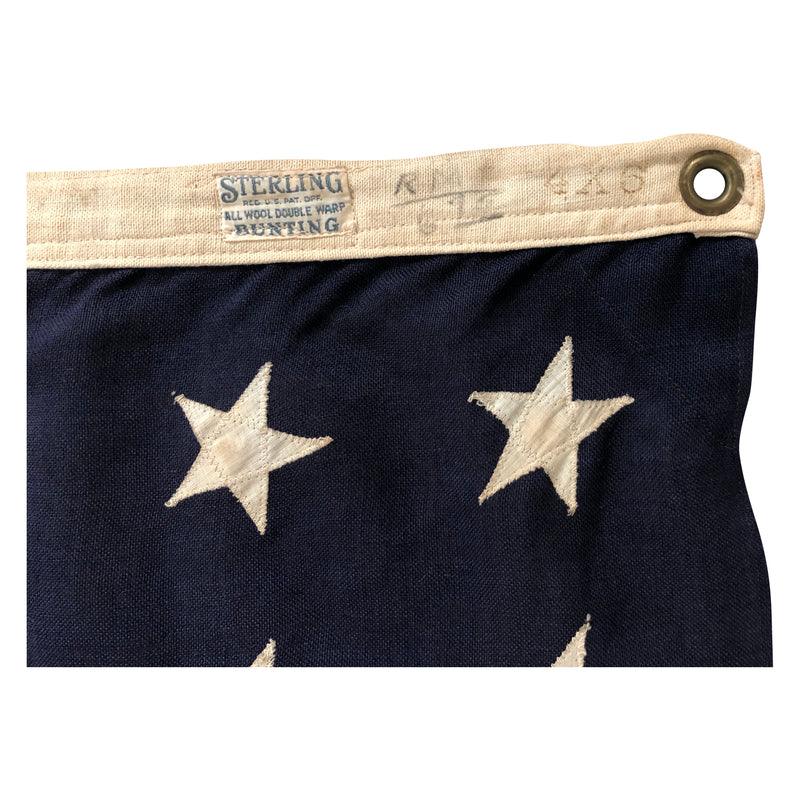 48 Star Flag - Antique American Flag - Sterling Bunting All Wool Double Warp