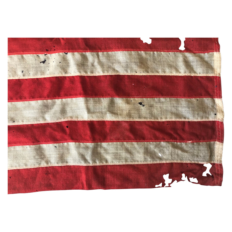 Vintage Yacht Ensign US Flag - 13 Sewn Star Anchor & Stripes - Wool