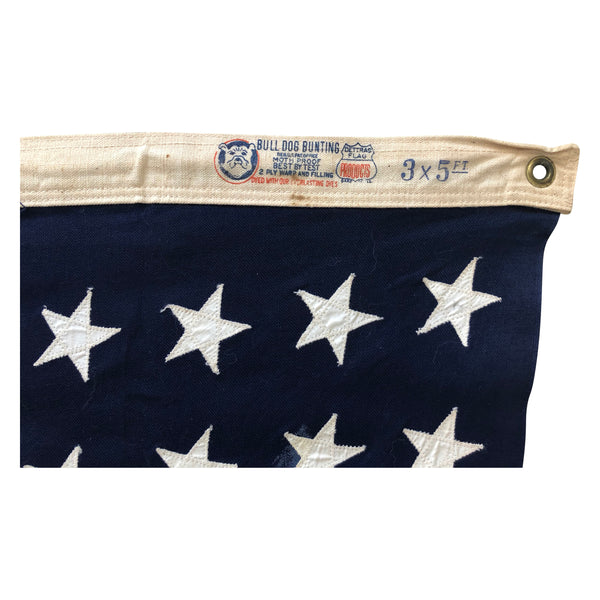 Vintage 48 Star Flag - Bull Dog Bunting - Sewn Stars and Stripes