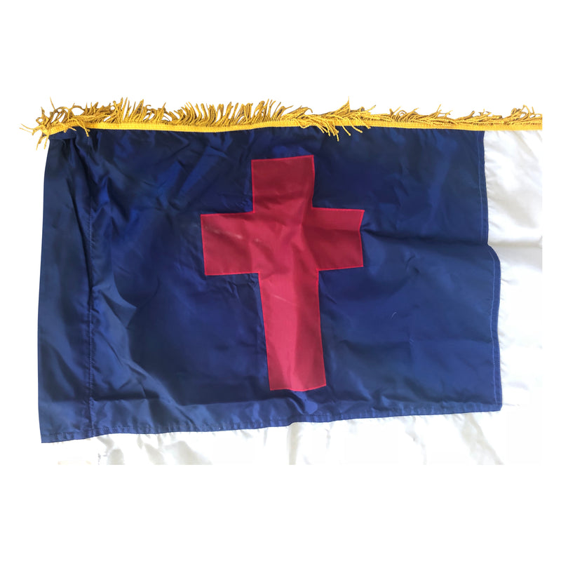 Christian Flag Gold Fringe Sleeve& Connection for Pole