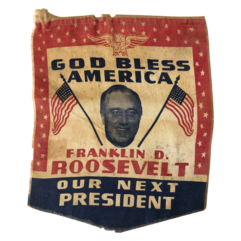"FDR Roosevelt Election Banner  ""God Bless America"""
