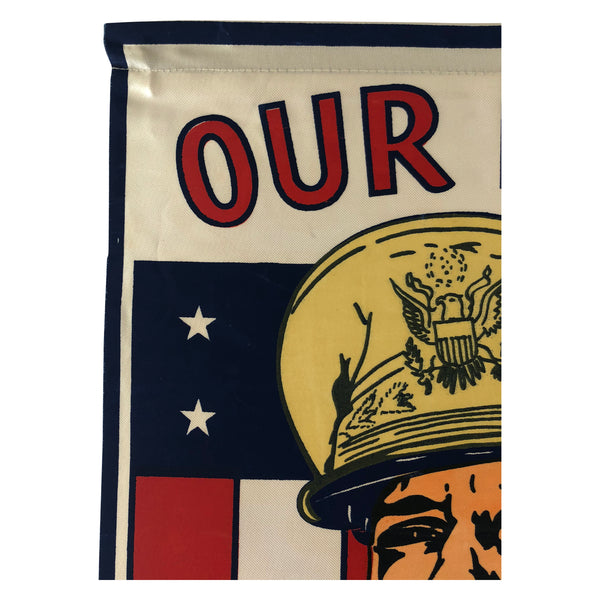 1942 World War II Douglas MacArthur Window Flag Banner