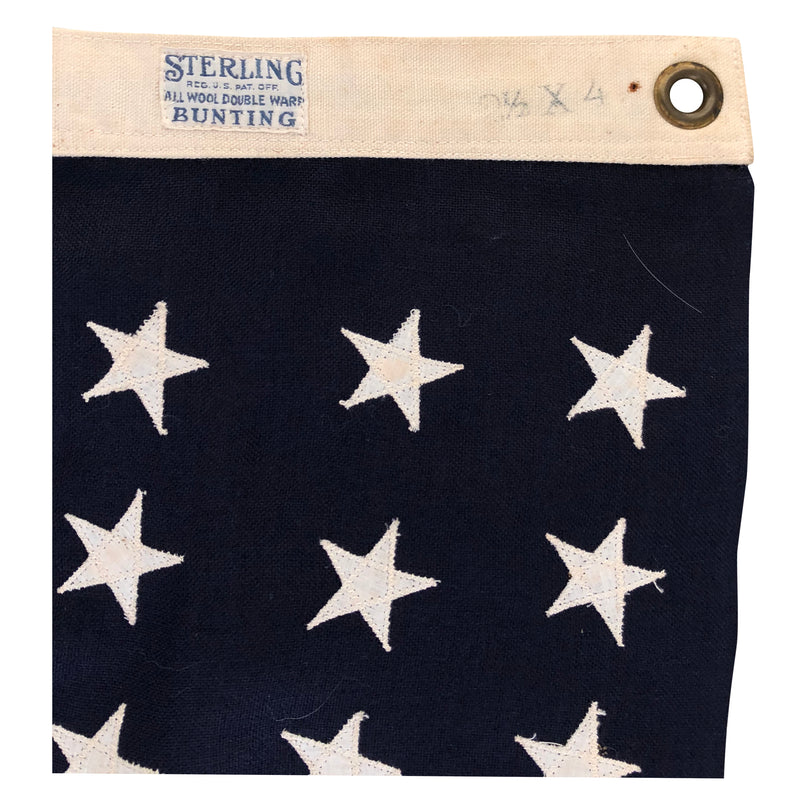48 Star Flag - Vintage Antique American Flag - Sterling All Wool Bunting