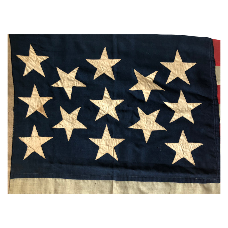Rare Antique 13 Star Flag, 3-2-3-2-3 Diamond Star Formation