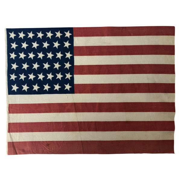 Vintage Antique 39 Star Flag, Tilted Stars Angled in the 1:00 Position