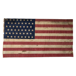48 Star Flag - Antique Vintage American Parade Flag Staggered Rows
