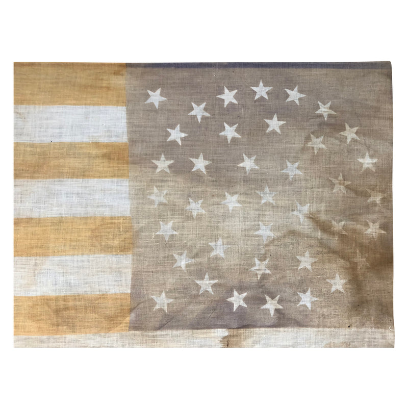 Antique Vintage 38 Star Medallion Flag Printed on Linen, 1877-1890