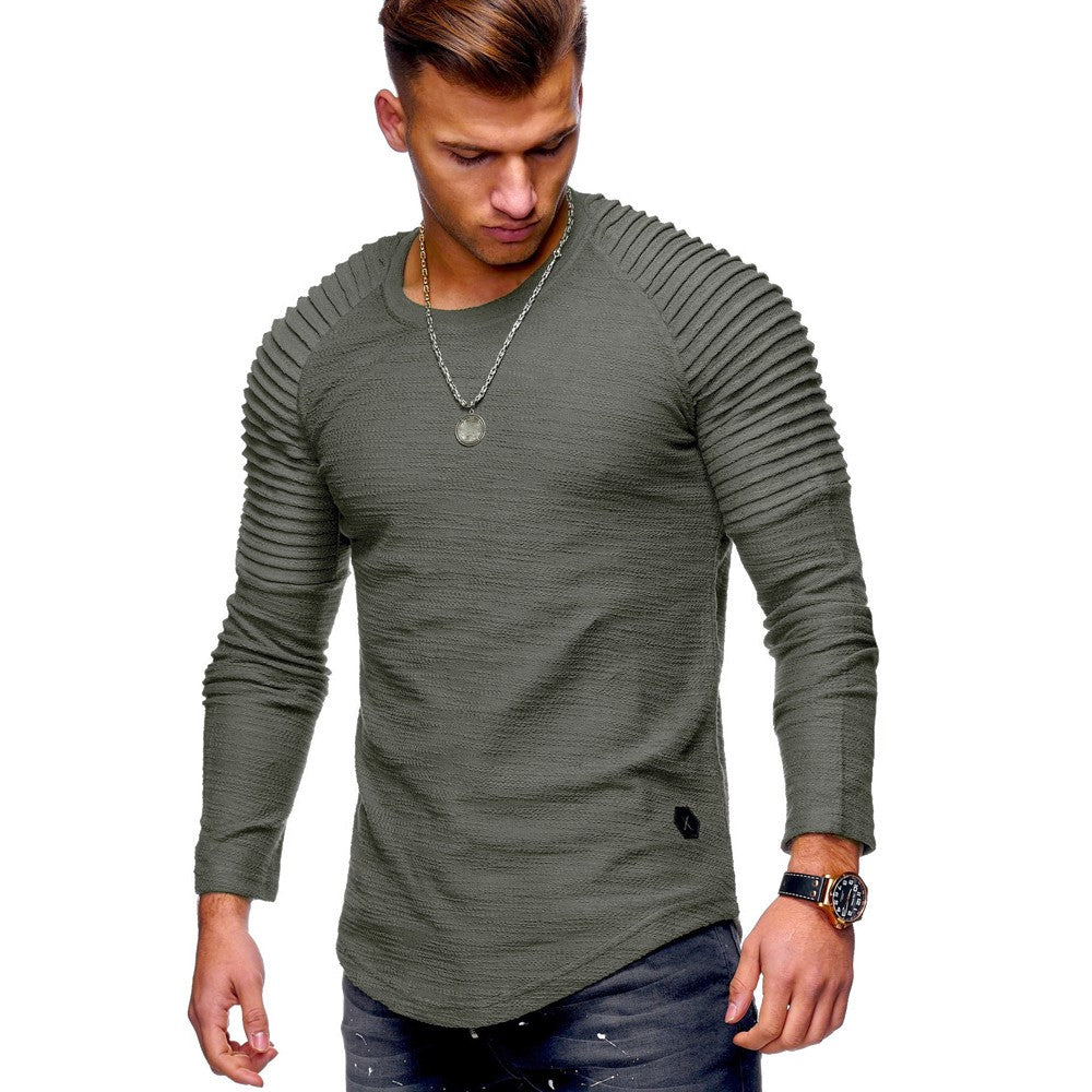 Men Cotton Regular Solid Full Sleeve Regular Tees