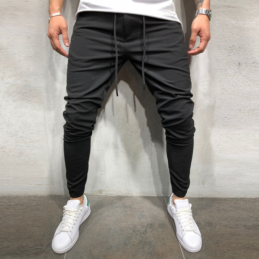 Men Pleated Pattern Skinny Full Length Casual Sweatpants