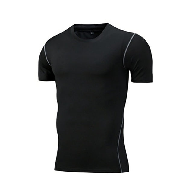 Running Sports Short Sleeve T-Shirt Men O Neck Sweat Absorption Quick Drying Tight Tee Tops Fitness Apparel Sportswear