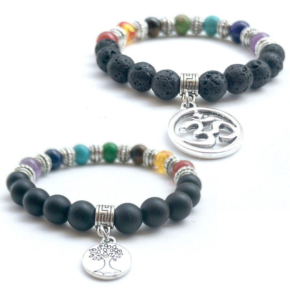 Tree of Life Charms Seven Chakras Lava Stone Beads Bracelet Matted Black Stone Rainbow Beads Stretch Yoga Strand Jewelry