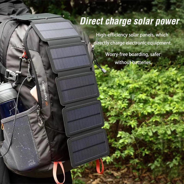 10W Folding Solar Cells Charger 5V 2A USB Output Device Outdoor Sunpower Solar Panels Power Bank for Phone No Build-in Battery