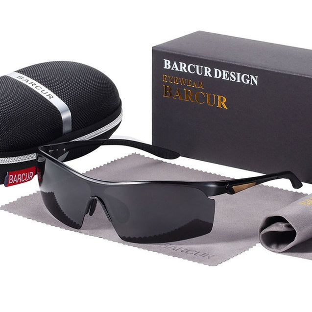 BARCUR Sports Eyewear Aluminium Sunglasses Men Polarized Sun glasses Women glasses Anti-Reflective shades oculos de sol feminino