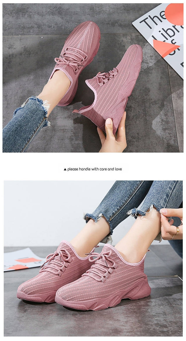 Tenis Feminino 2019 New Design Gym Tennis Shoes Women Athletic Fitness Sneakers Flying Woven Air Mesh Net Shoes Flat Sport Shoes