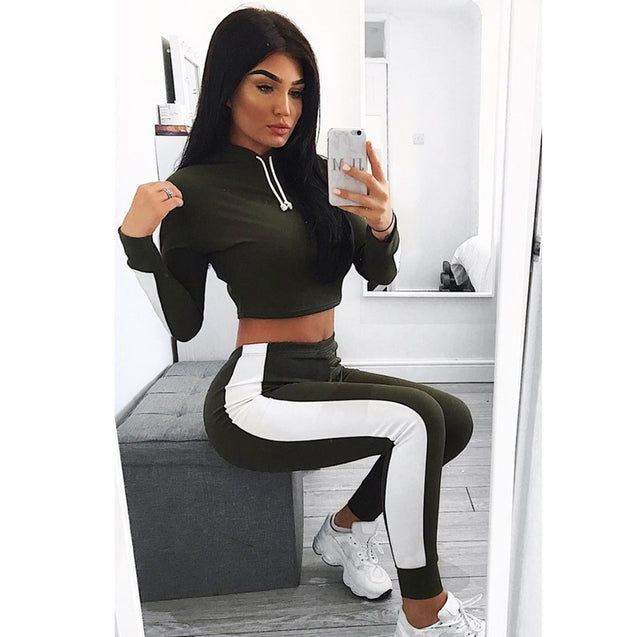 Sweatsuit Women Two Piece Pants Set Cropped Top Hat Summer Lounge Wear Conjunto Deportivo Mujer Sport Femme Clothes Track Suit