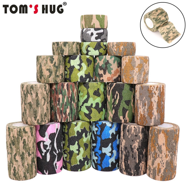 4.5m Hunt Disguise Elastoplast Camouflage Elastic Wrap Tape Self Adhesive Sports Protector Ankle Knee Finger Arm Bandage