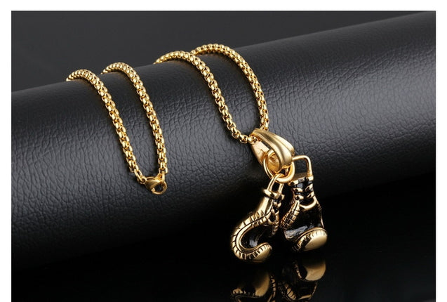 2020 Hot New Retro Fitness Boxing Gloves Titanium Steel Pendant Chains Necklaces for Women Men Sports Punk Hiphop Jewelry Gift