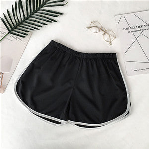 Summer Women Shorts Sexy Elastic Skinny Slim Sport Shorts Solid Color Patchwork Sport Fitness high waist shorts