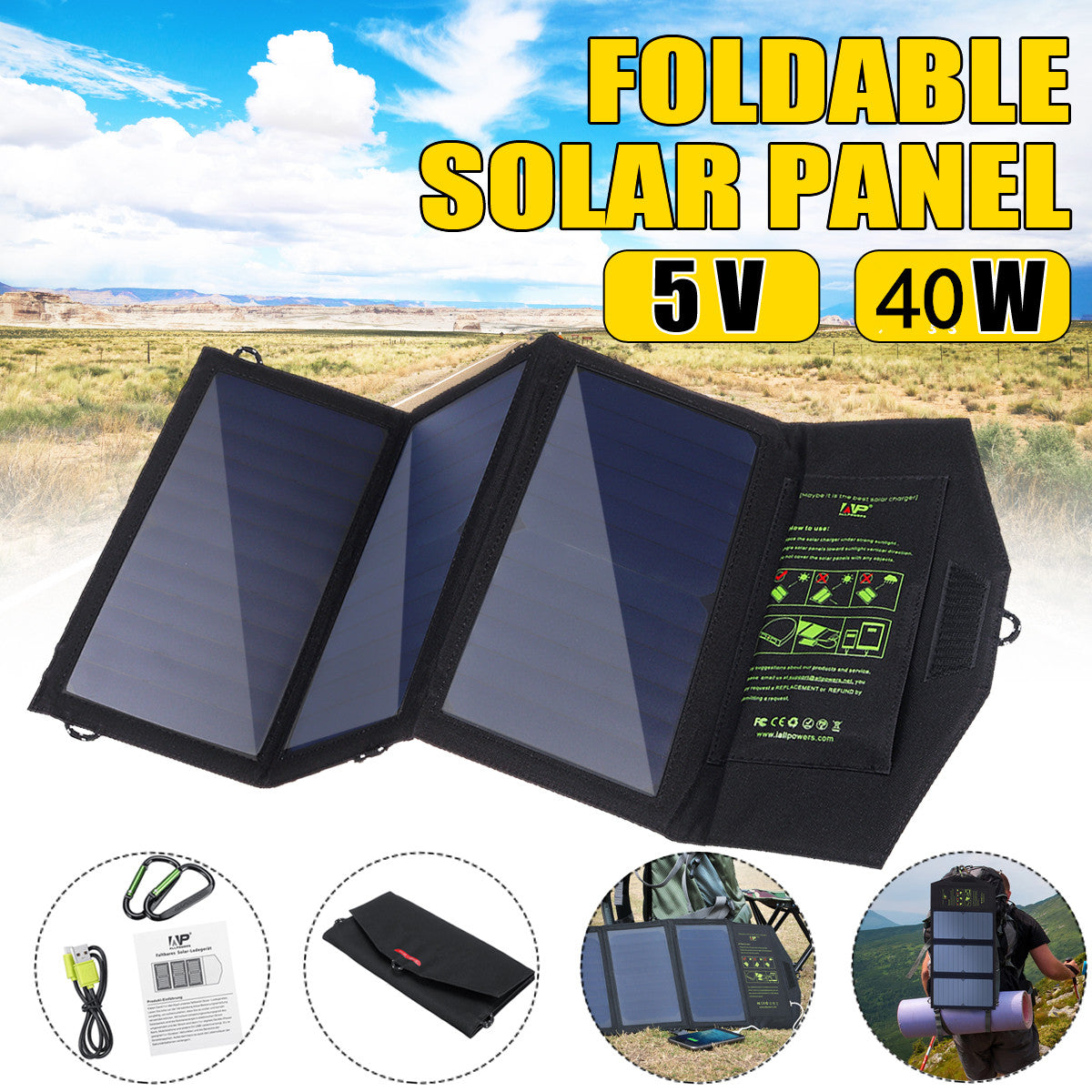 KRXNY 40W Foldable Solar Panel Charger Portable Waterproof High Efficiency 5V USB 18V DC Dual Output Charger for Laptop Tablet Cell Phone Camping Hiking