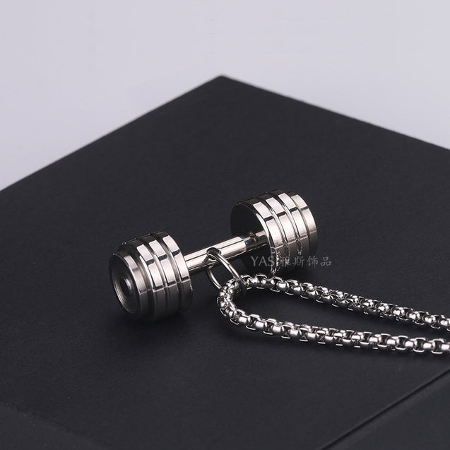 fashion barbell necklaces mens stainless steel gold chains necklaces sports pendant jewelry for neck gifts for male accessories