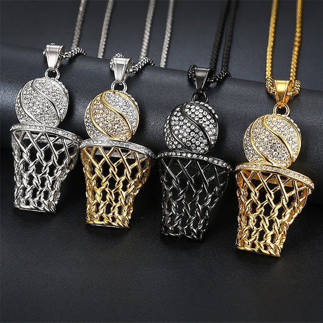 Basketball Hoop stainless steel black gold silver color Pendant Necklace Men Long Chain Necklace Gifts Sports Hip Hop Jewelry