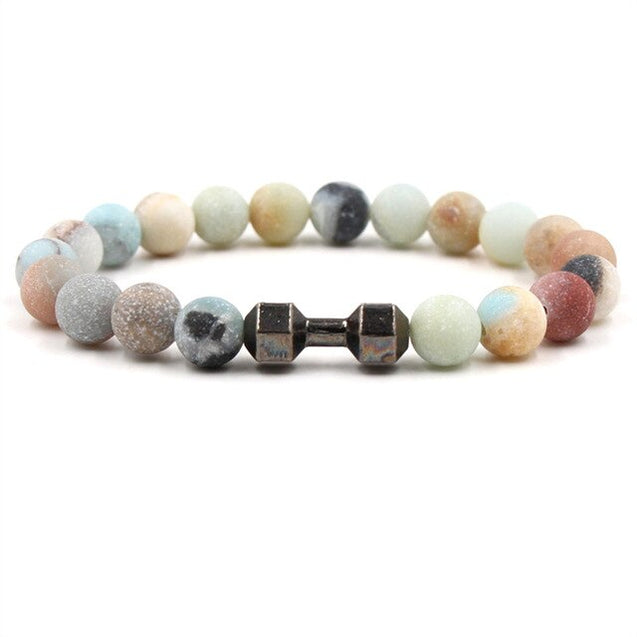 3 colors Dumbbell Charms Strand Bracelet 8mm Matted Colorful Stone Beads Bracelets Buddha Yoga Strench Jewelry