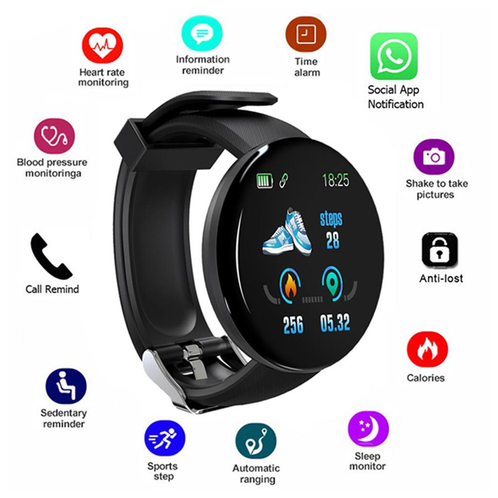 D18 Smart Watch | Touch Screen | Monitors Blood Pressure & Heart Rate | Music Control | Message Reminders
