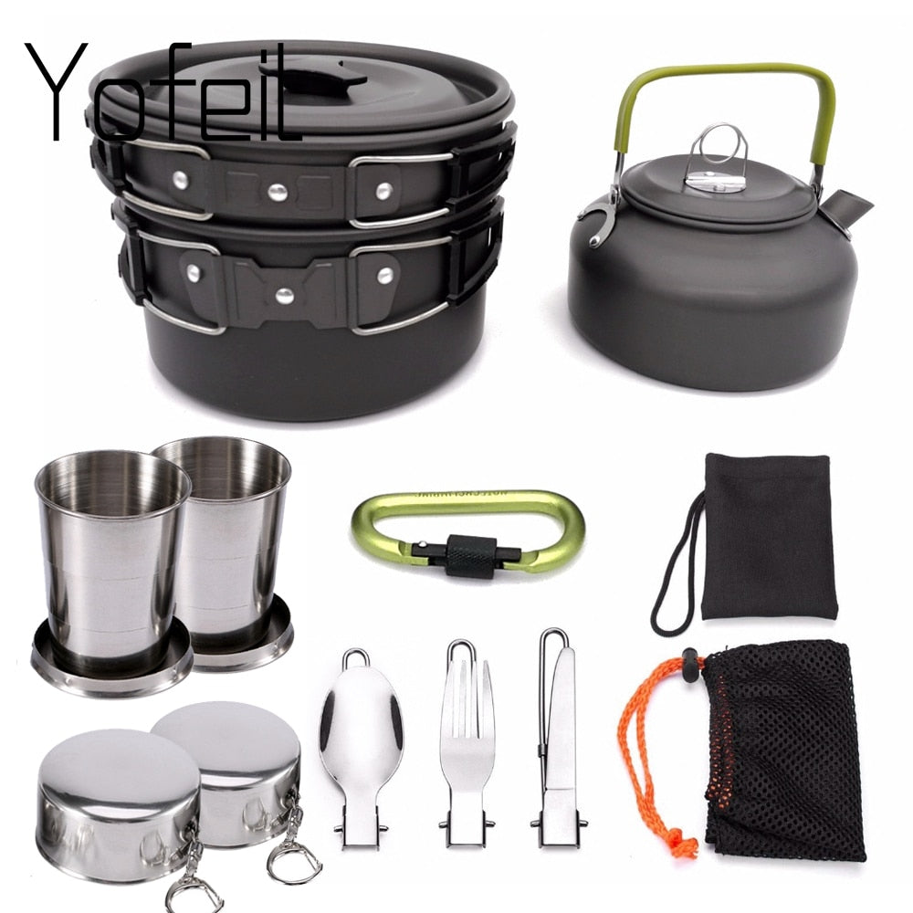 Pots & Pans | Camping Cookware Non-Stick Set With Foldable Spoon, Fork, Knife, Kettle & Cup | Complete Camping Utensils