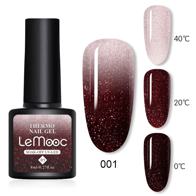 Thermal Nail Polish Gel | Shiny Sequins Effect | Glitter Soak | Temperature Color Changing Gel