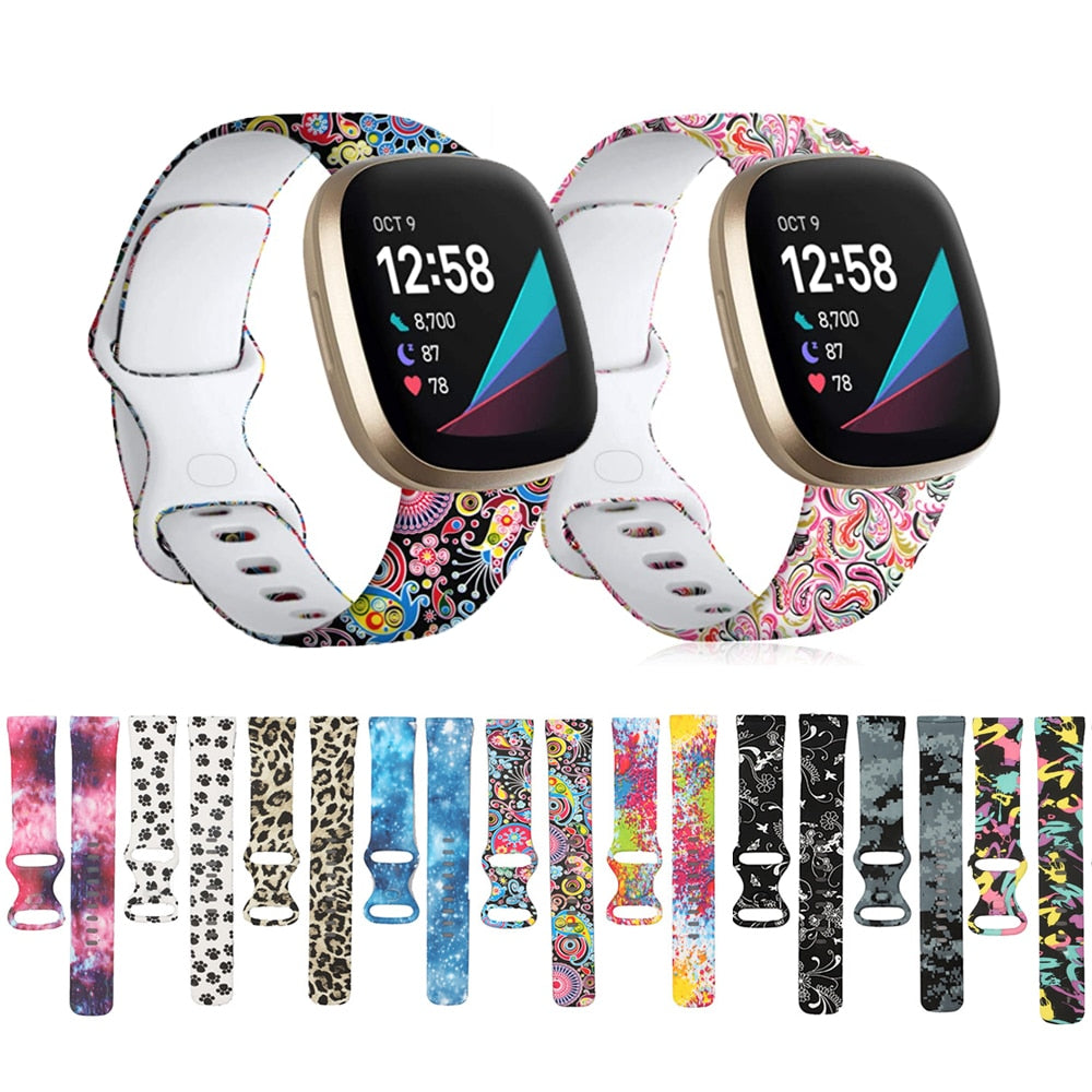 Silicone Pattern Printed Watchband for Fitbit Versa 3 / Fitbit Accessories