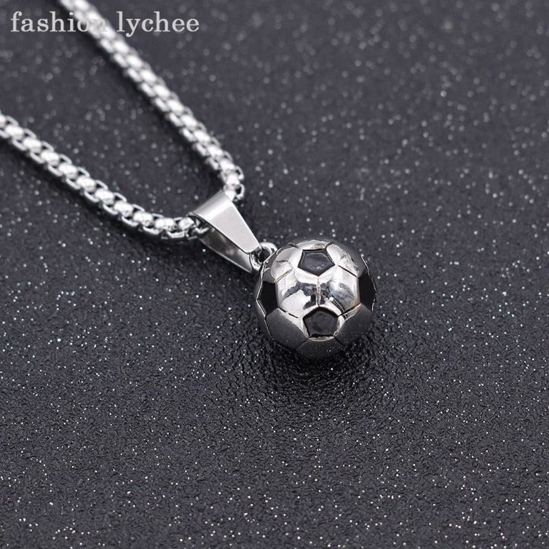 fashion lychee New Arrival Sports Soccer Ball Pendant Football Necklace Titanium Steel Metal Link Chain Men Jewelry