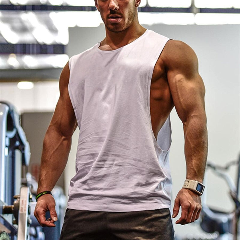 Men's Cut Out Sleeveless shirt Gyms Stringer vest Blank Workout T-Shirt Muscle Tee Bodybuilding Tank Top Fitness Clothing