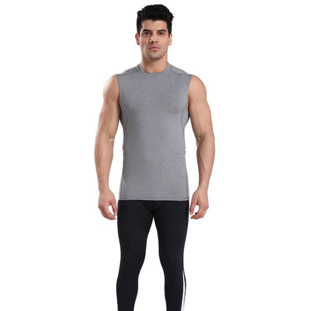Quick Drying Men Vest Sleeveless Wide Shoulder Breathable Tights Tank Tops Elastic Sports wear Fitness Apparel Running Hiking