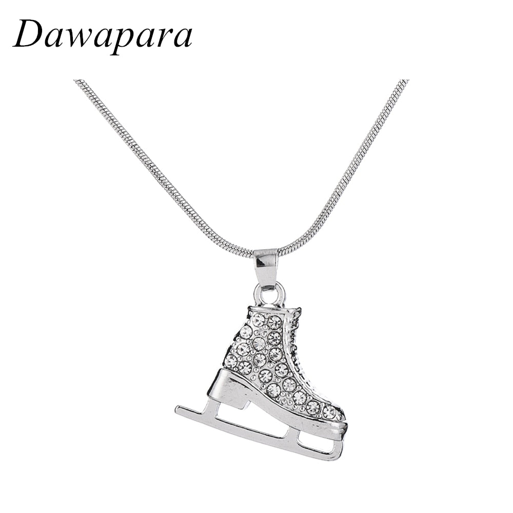 Dawapara Skating Shoes Pendants & Necklaces Four Color Rhinestones Sports Charms Statement Jewelry for Men and Women