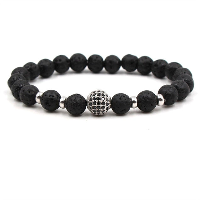 2018 Brand Black Ball CZ Pattern Natural Stone Charm Bracelet Bracelet Pearl Jewelry Mat Yoga Man DIY Bracelet Jewelry AS570
