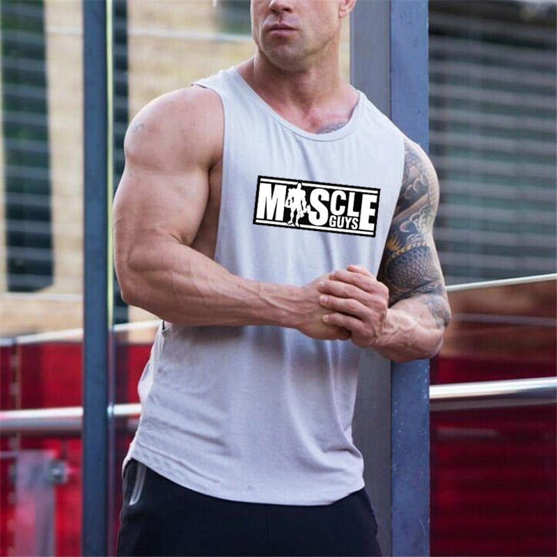 Muscleguys Brand Letters Printed Singlets Shirt Bodybuilding Equipment Fitness Men's Stringer Tank Top Brand Clothes