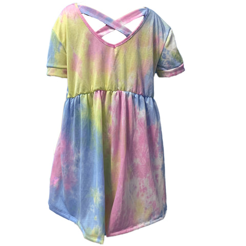Tie Dye Pastel Shirt Criss Cross Back with V Neck