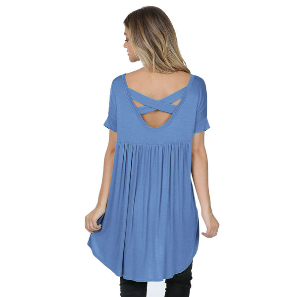 Light Blue Criss Cross Back V Neck Tunic
