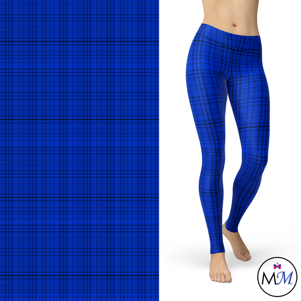 Blue Plaid Blue, Black, White Leggings Pockets