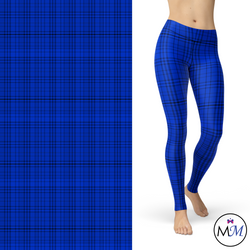 WS -Blue Plaid Blue, Black, White Leggings Pockets