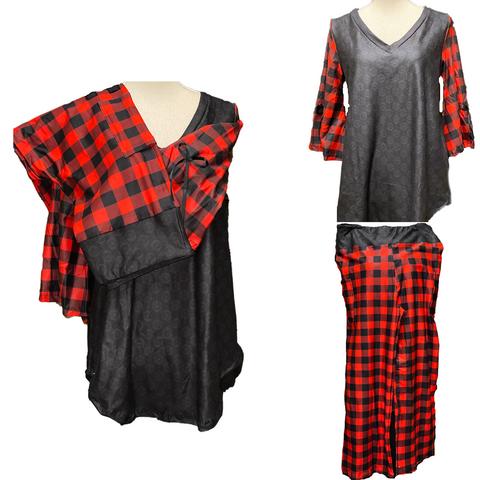 Buffalo Plaid Pajama Lounge Set  Bell Sleeves and Loose Legging Material Pants with Pockets